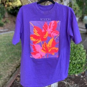 Vintage Boston Floral Travel T Shirt Single Stitch